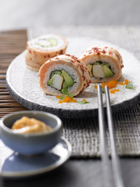 "California Lachs-Roll ""pan-fried"" mit Lachs aus Norwegen"